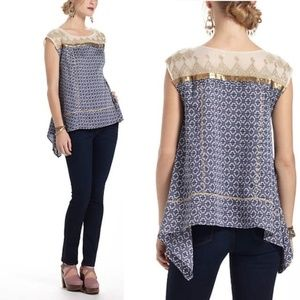 Anthropologie Floreat Gold Stream Top Blouse